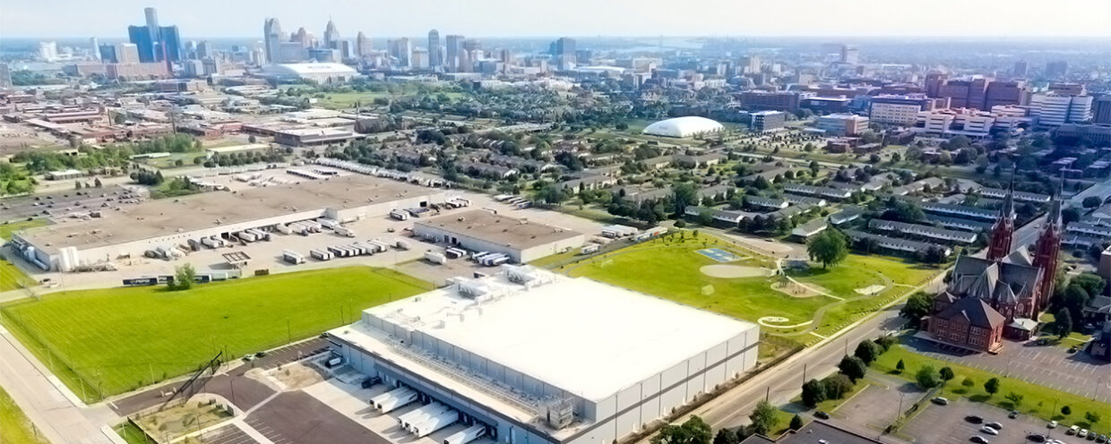 Aerial shot of Wolverine Packing Co and Detroit Skyline