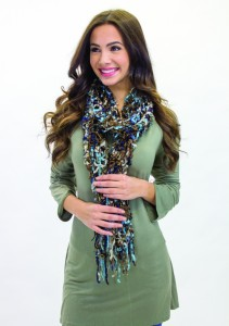 Carly Sage Top with Scarf 2