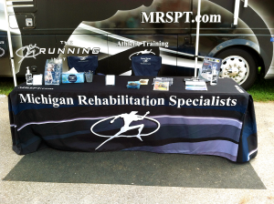 Table cloth, swag, promotional give away items, RV Wrap, and branding Graphic Design by Michigan Video and Photography